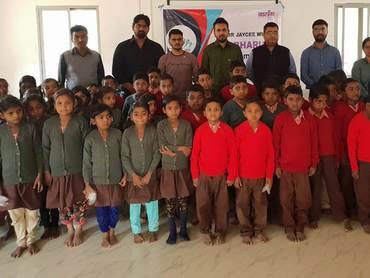 Jci bharuch sweater distribution at atali ashram