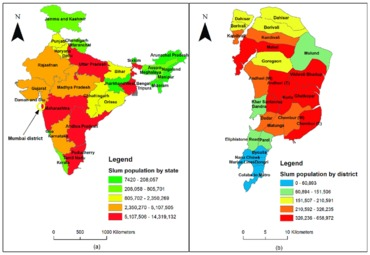 Geographic distribution of slums population in india a and mumbai b data india