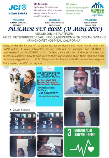 Jci vizag smart conducts summer pet health camp online on 31 may 2020