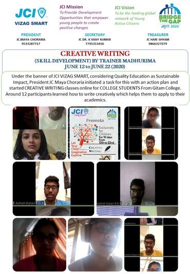 Jci vizag smart skill development on creative writing